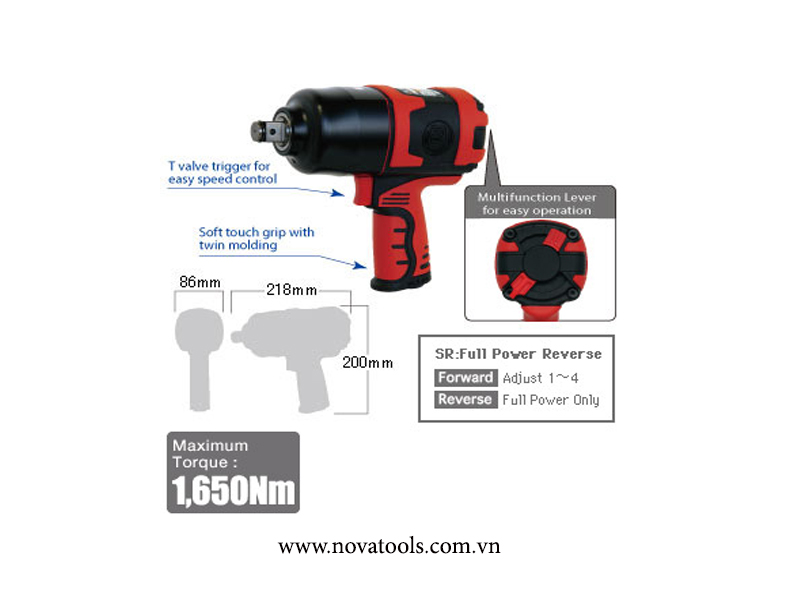 "SHINANO 3/4"" IMPACT WRENCH SI-1550SR"